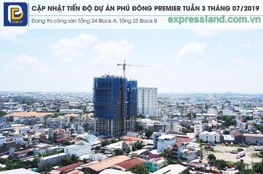 Tiến độ căn hộ Phú Đông Premier đầu tháng 8/2019