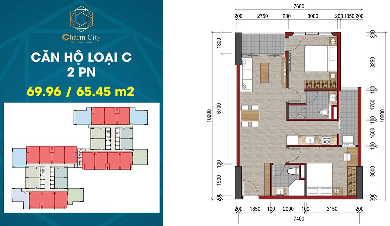 Thiết kế dự án căn hộ chung cư Charm City Dĩ An Bình Dươngchủ đầu tư DCT Group
