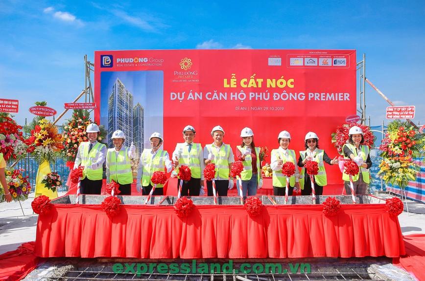 Cất nóc căn hộ Phú Đông Premier, tòa nhà cao nhất Bình Dương liền kề đường Phạm Văn Đồng