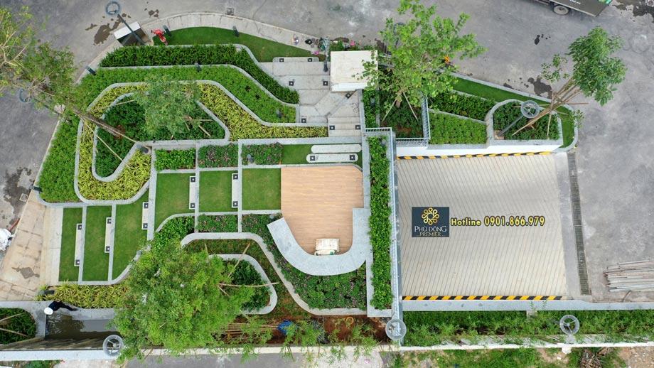 Hình Khu vực công viên tầng trệt chung cư Phú Đông Premier