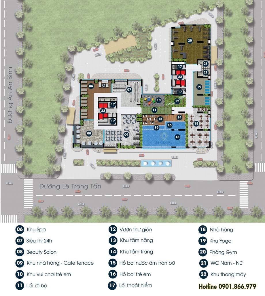 Sơ đồ Tiện ích khi mua căn hộ Phú Đông Premier lầu 6